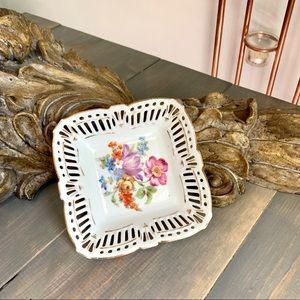 Vtg Schwarzenhammer Floral Porcelain Trinket Dish